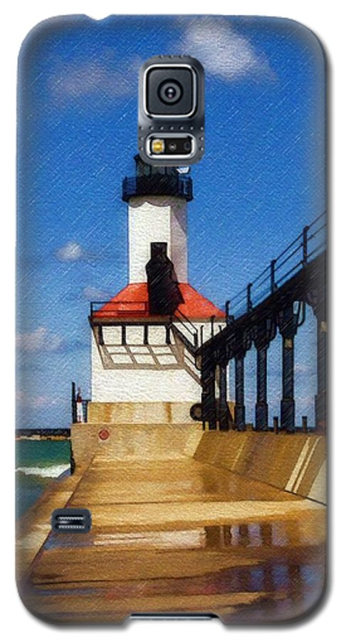 Lighthouse Galaxy S5 Case featuring the photograph Michigan City Light 1 by Sandy MacGowan