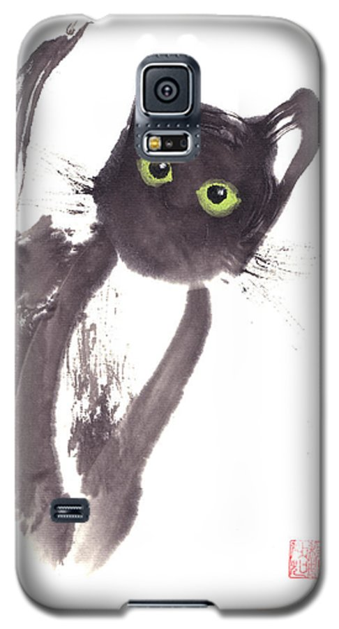 A Curious Black Kitten. This Is A Contemporary Chinese Ink And Color On Rice Paper Painting With Simple Zen Style Brush Strokes.  Galaxy S5 Case featuring the painting Midnight by Mui-Joo Wee