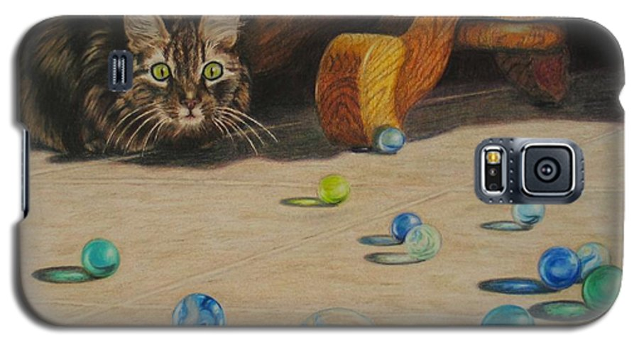 Cats Galaxy S5 Case featuring the drawing Mighty Hunter by Karen Ilari