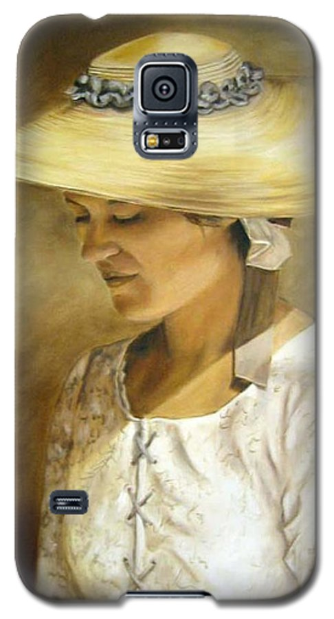 Portrait Galaxy S5 Case featuring the painting Milliners Daughter by Anne Kushnick