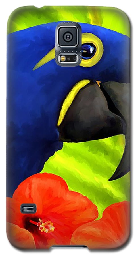 Hyacinth Macaw Galaxy S5 Case featuring the painting Mimi by David Wagner