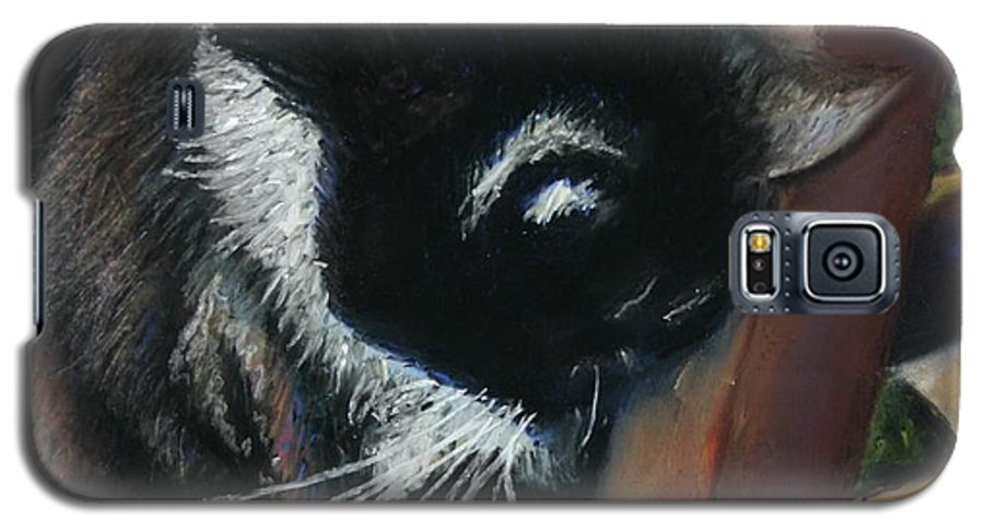 Cat Galaxy S5 Case featuring the painting Kitty Chair by Minaz Jantz