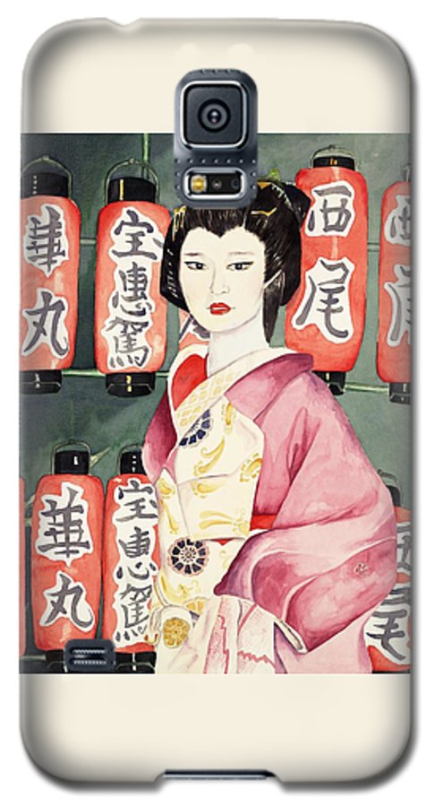 Geisha In Kimono With Red Lanterns Galaxy S5 Case featuring the painting Miss Hanamaru At Osaka Festival by Judy Swerlick