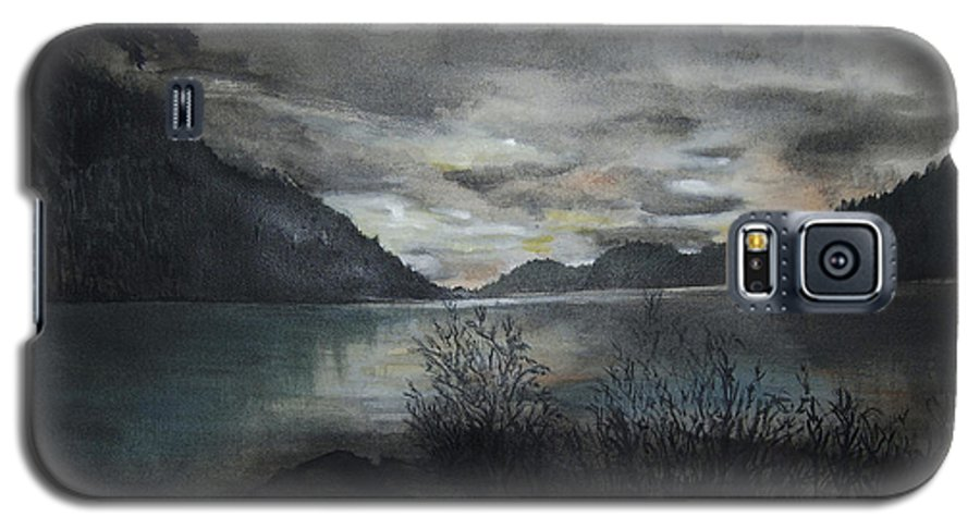 Sunset Galaxy S5 Case featuring the painting Missezula Lake Sunset by Susan Moore