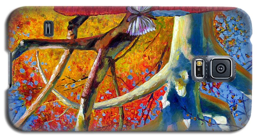 Garden Pond Galaxy S5 Case featuring the painting Missouri Sycamore Reflections by John Lautermilch