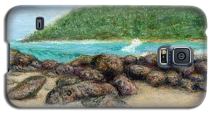 Coastal Decor Galaxy S5 Case featuring the painting Moloa'a Rocks by Kenneth Grzesik
