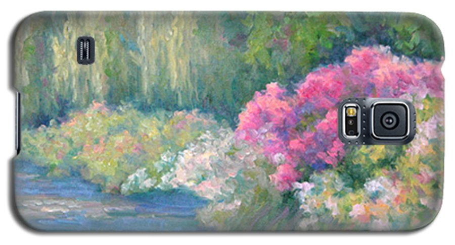 Pond Galaxy S5 Case featuring the painting Monet's Pond by Bunny Oliver