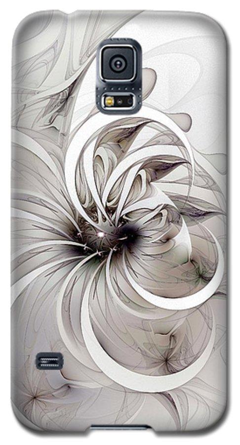 Digital Art Galaxy S5 Case featuring the digital art Monochrome Flower by Amanda Moore