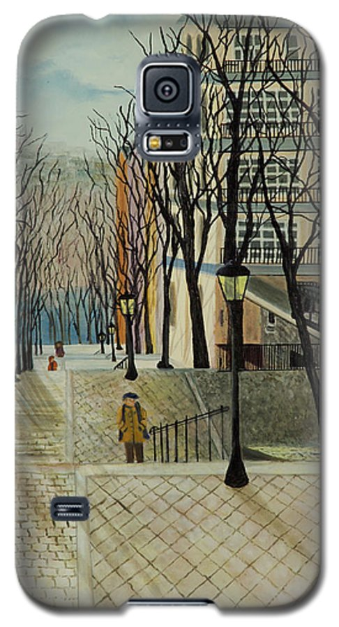 Paris Galaxy S5 Case featuring the painting Montmartre Steps In Paris by Susan Kubes