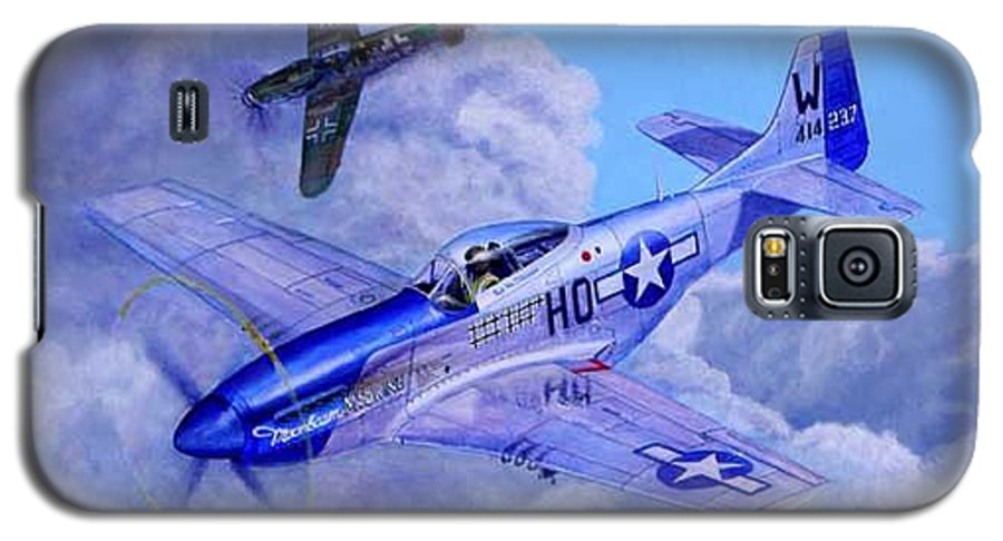 Capt Bill Wisner Shoots Down Two Bf-109s On November 2nd 1944 Galaxy S5 Case featuring the painting Moonbeam Mcswine by Scott Robertson