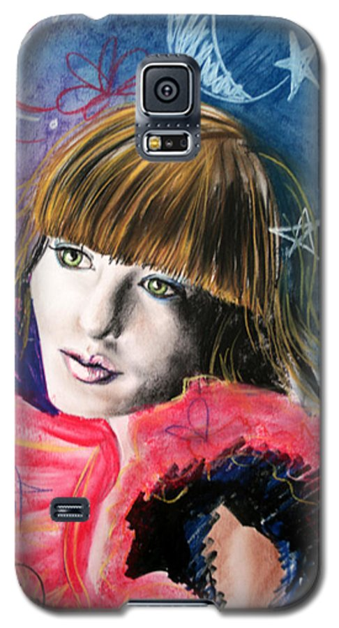 Portrait Galaxy S5 Case featuring the drawing Moonlight Glam by Maryn Crawford