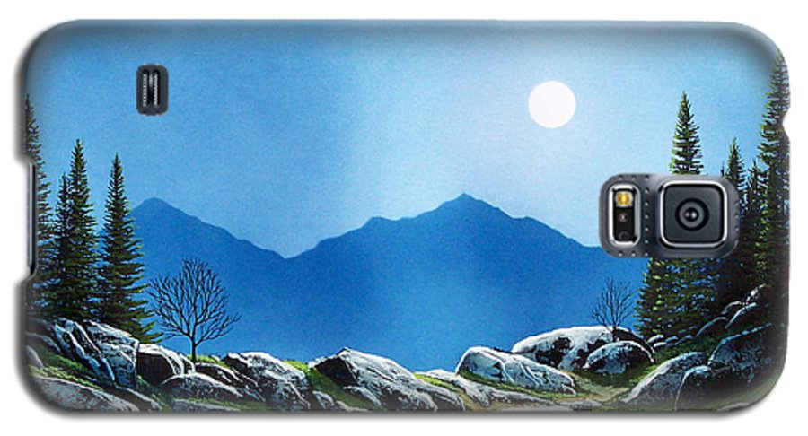 Landscape Galaxy S5 Case featuring the painting Moonlight Hike by Frank Wilson