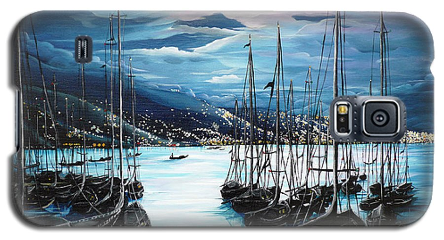 Ocean Painting  Caribbean Seascape Painting Moonlight Painting Yachts Painting Marina Moonlight Port Of Spain Trinidad And Tobago Painting Greeting Card Painting Galaxy S5 Case featuring the painting Moonlight Over Port Of Spain by Karin Dawn Kelshall- Best