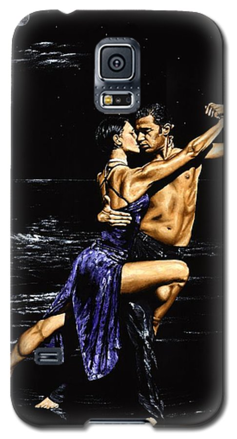 Moonlight Galaxy S5 Case featuring the painting Moonlight Tango by Richard Young