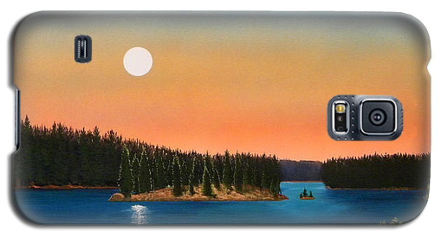 Landscape Galaxy S5 Case featuring the painting Moonrise Over The Lake by Frank Wilson