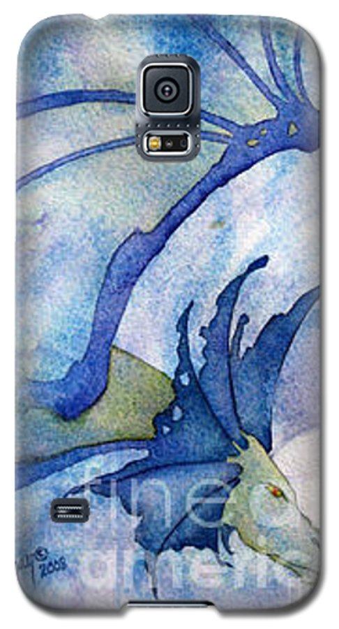 Dragon Galaxy S5 Case featuring the painting Moonstone Dragon - Sold by Wendy Froshay