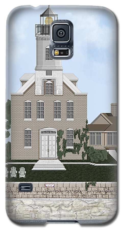 Lighthouse Galaxy S5 Case featuring the painting Morgan Point Mystic Harbor Conn by Anne Norskog