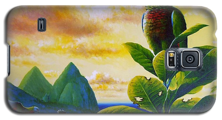 Chris Cox Galaxy S5 Case featuring the painting Morning Glory - St. Lucia Parrots by Christopher Cox