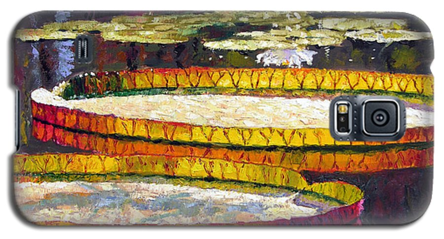 Water Lilies Galaxy S5 Case featuring the painting Morning Glow by John Lautermilch