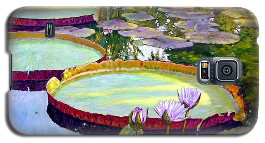 Garden Pond Galaxy S5 Case featuring the painting Morning Highlights by John Lautermilch
