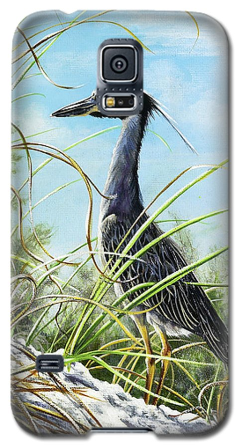 Bird Galaxy S5 Case featuring the painting Morning Hunt by Joan Garcia