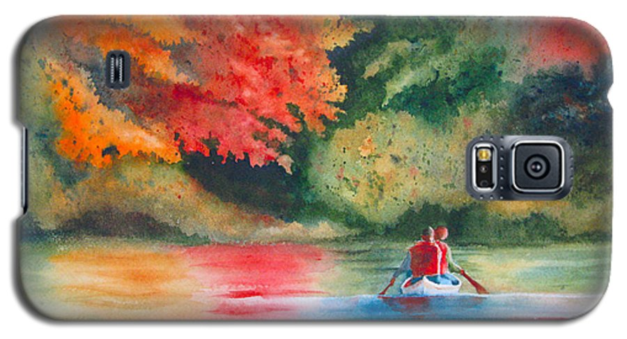 Lake Galaxy S5 Case featuring the painting Morning On The Lake by Karen Stark