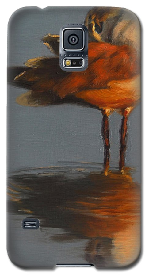 Bird Galaxy S5 Case featuring the painting Morning Reflection by Greg Neal