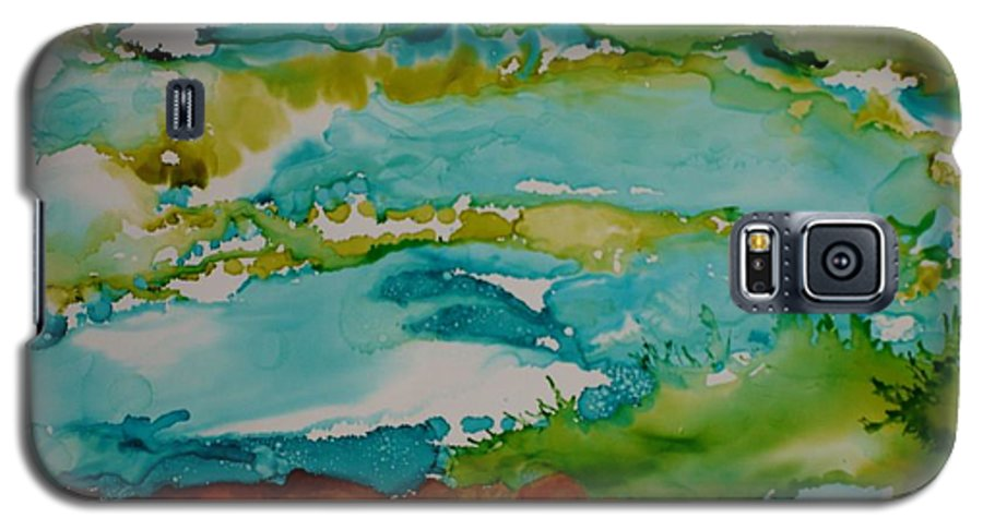 Wave Galaxy S5 Case featuring the mixed media Mother Ocean by Susan Kubes