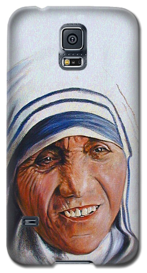 Mother Teresa Galaxy S5 Case featuring the painting Mother Teresa by John Lautermilch
