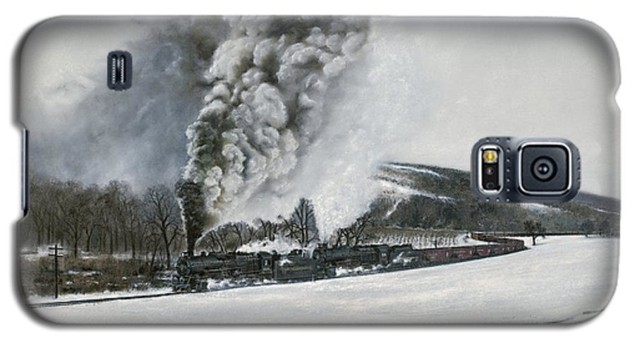 Trains Galaxy S5 Case featuring the painting Mount Carmel Eruption by David Mittner