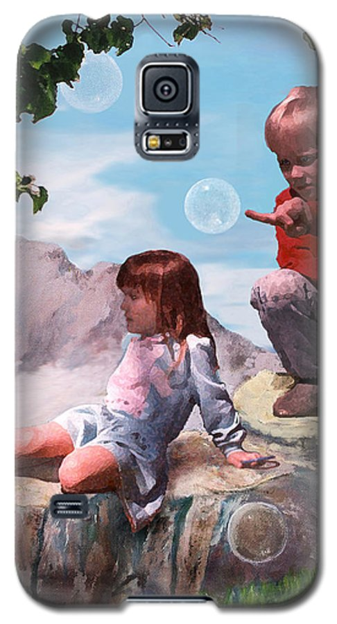 Landscape Galaxy S5 Case featuring the painting Mount Innocence by Steve Karol