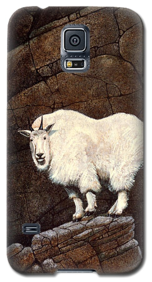 Wildlife Galaxy S5 Case featuring the painting Mountain Goat by Frank Wilson