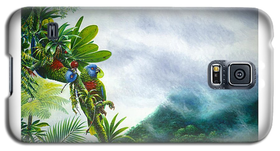 Chris Cox Galaxy S5 Case featuring the painting Mountain High - St. Lucia Parrots by Christopher Cox