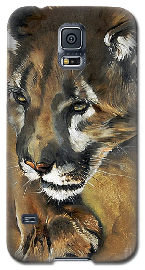 Southwest Art Galaxy S5 Case featuring the painting Mountain Lion - Guardian Of The North by J W Baker