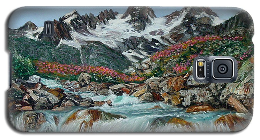 Mountain Galaxy S5 Case featuring the painting Mountain Stream by Quwatha Valentine