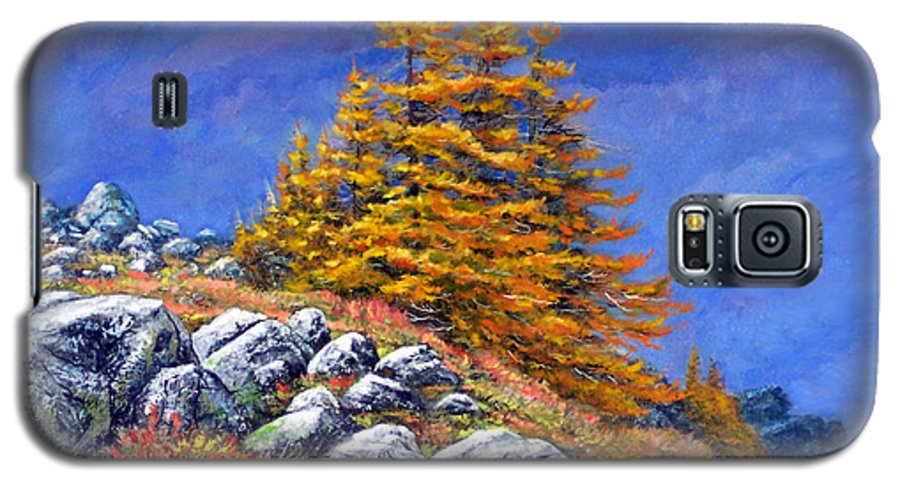 Mountains Galaxy S5 Case featuring the painting Mountain Tamaracks by Frank Wilson