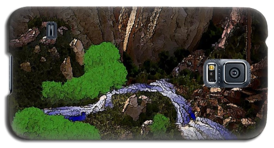 Stones.rocks.mountines.sky.cloud.bushes.river.water.flow. Galaxy S5 Case featuring the digital art Mountine River by Dr Loifer Vladimir