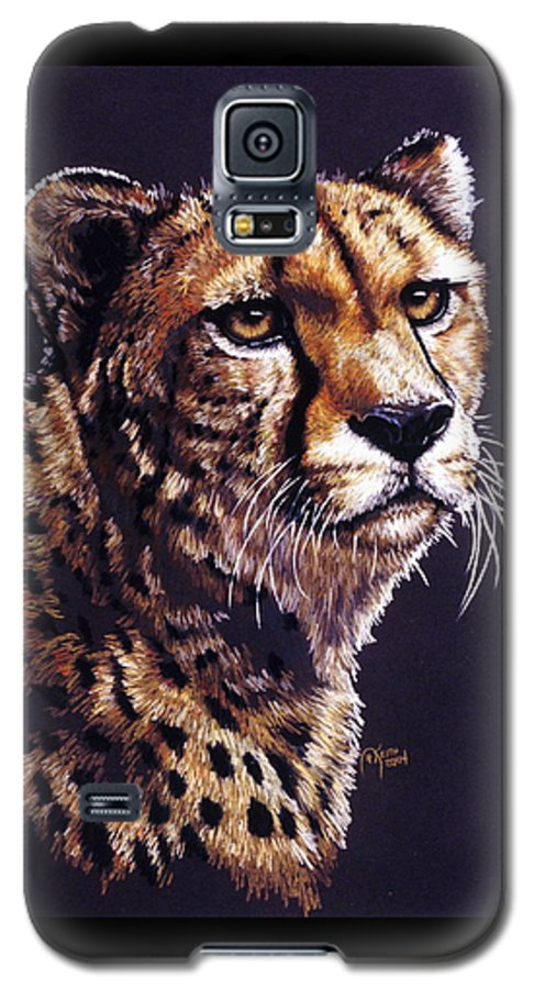 Cheetah Galaxy S5 Case featuring the drawing Movin On by Barbara Keith