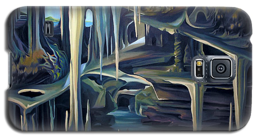 Mural Galaxy S5 Case featuring the painting Mural Ice Monks In November by Nancy Griswold