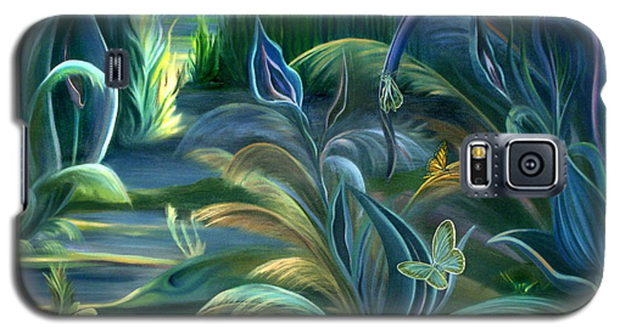 Mural Galaxy S5 Case featuring the painting Mural Insects Of Enchanted Stream by Nancy Griswold