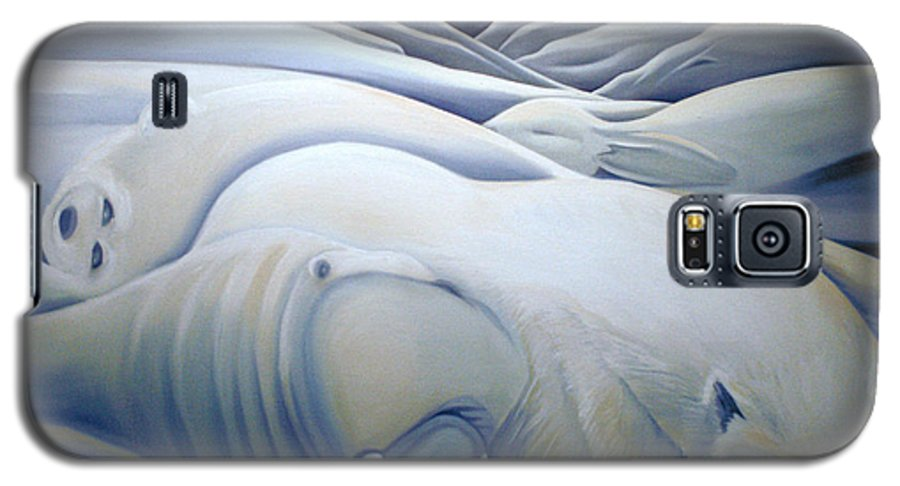 Mural Galaxy S5 Case featuring the painting Mural Winters Embracing Crevice by Nancy Griswold