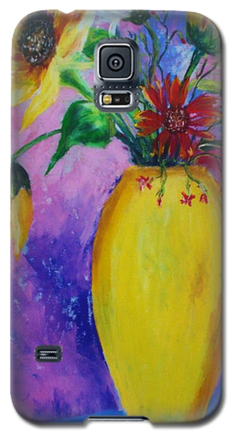 Sunflowers Galaxy S5 Case featuring the painting My Flowers by Melinda Etzold