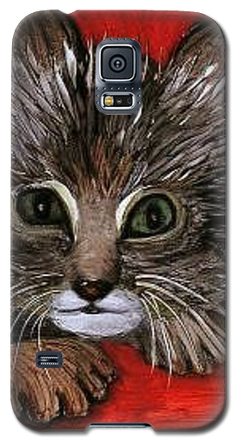 Very Curious And Beautiful Kittie Cat Galaxy S5 Case featuring the painting My Kittie Cat by Pilar Martinez-Byrne