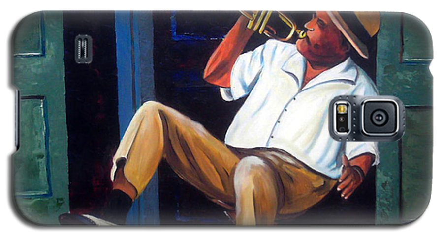 Cuba Art Galaxy S5 Case featuring the painting My Trumpet by Jose Manuel Abraham