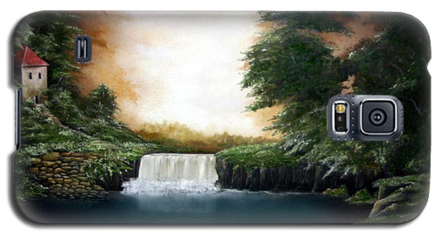 Falls Galaxy S5 Case featuring the painting Mystical Falls by Ruben Flanagan