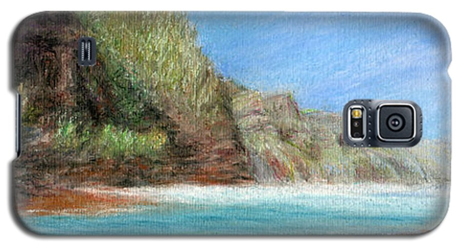 Rainbow Colors Pastel Galaxy S5 Case featuring the painting Na Pali by Kenneth Grzesik
