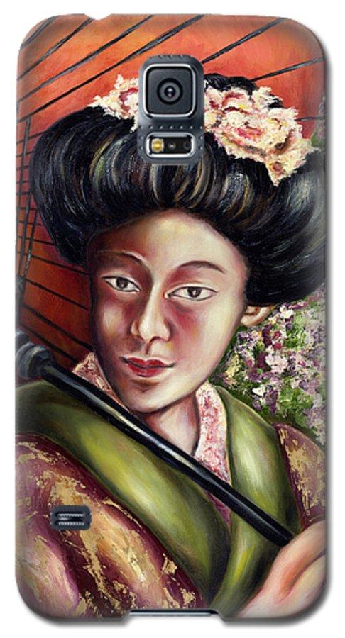 Japanese Galaxy S5 Case featuring the painting Nadeshiko by Hiroko Sakai