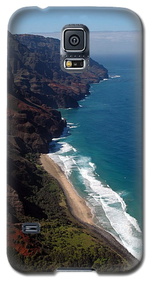 Hawaii Galaxy S5 Case featuring the photograph Napali Cliffs by Kathy Schumann