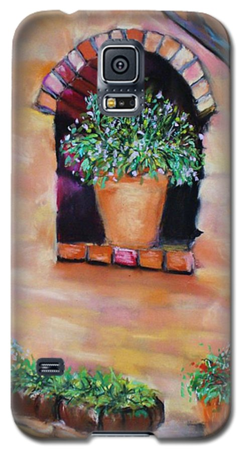 Courtyard Galaxy S5 Case featuring the painting Nash's Courtyard by Melinda Etzold