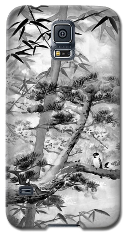 Black And White Galaxy S5 Case featuring the painting Nature by Eileen Fong